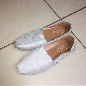 Silver satin Toms bridal collection flats floral